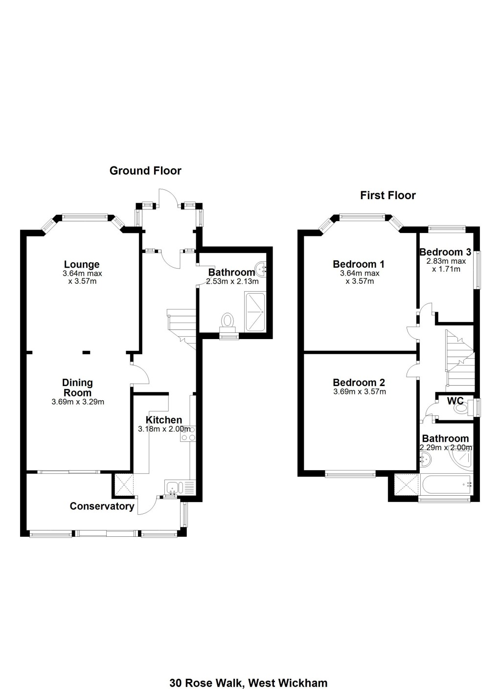 Floorplans For Rose Walk, West Wickham